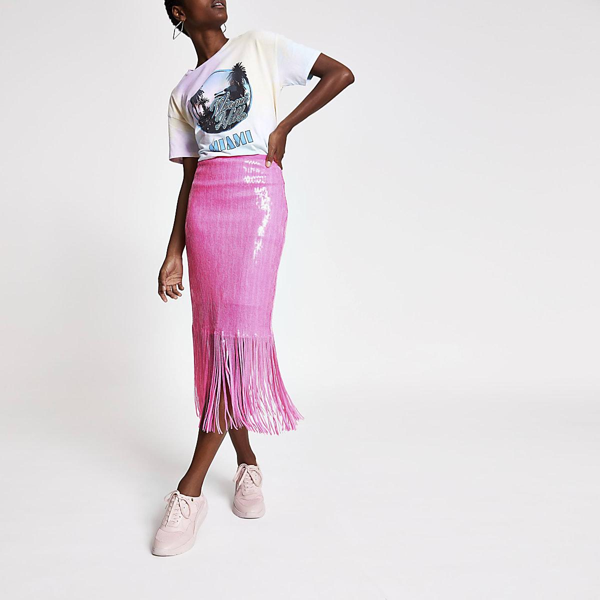 Pink sequin tassel pencil skirt