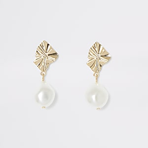 Gold colour pearl drop earrings
