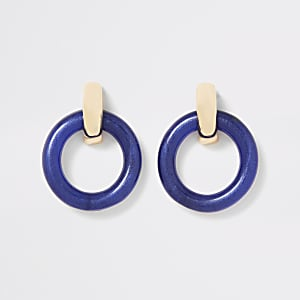 Blue round doorknocker earrings