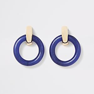Boucles d'oreilles façon heurtoir rondes bleues
