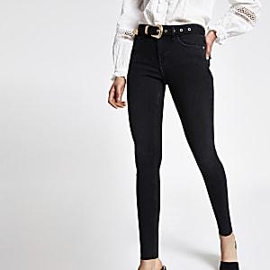 Amelie - Zwarte superskinny jeans met riem