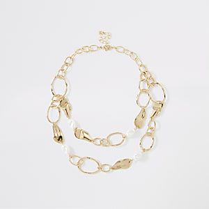 Gold colour pearl organic layered necklace