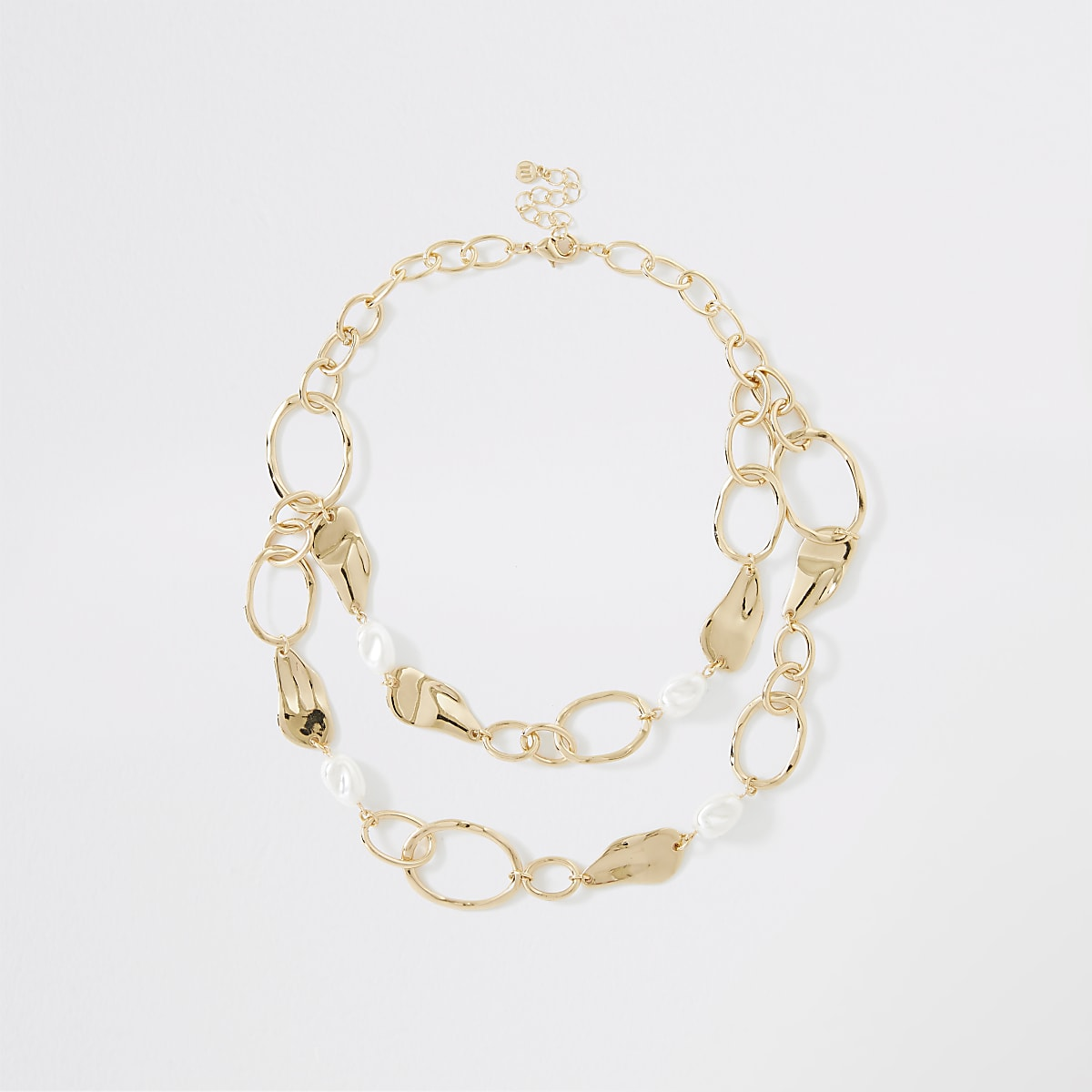 Gold color pearl organic layered necklace