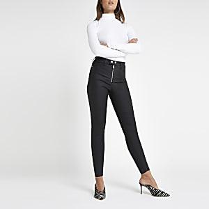 Hailey – Schwarze, beschichtete Jeans mit hohem Bund