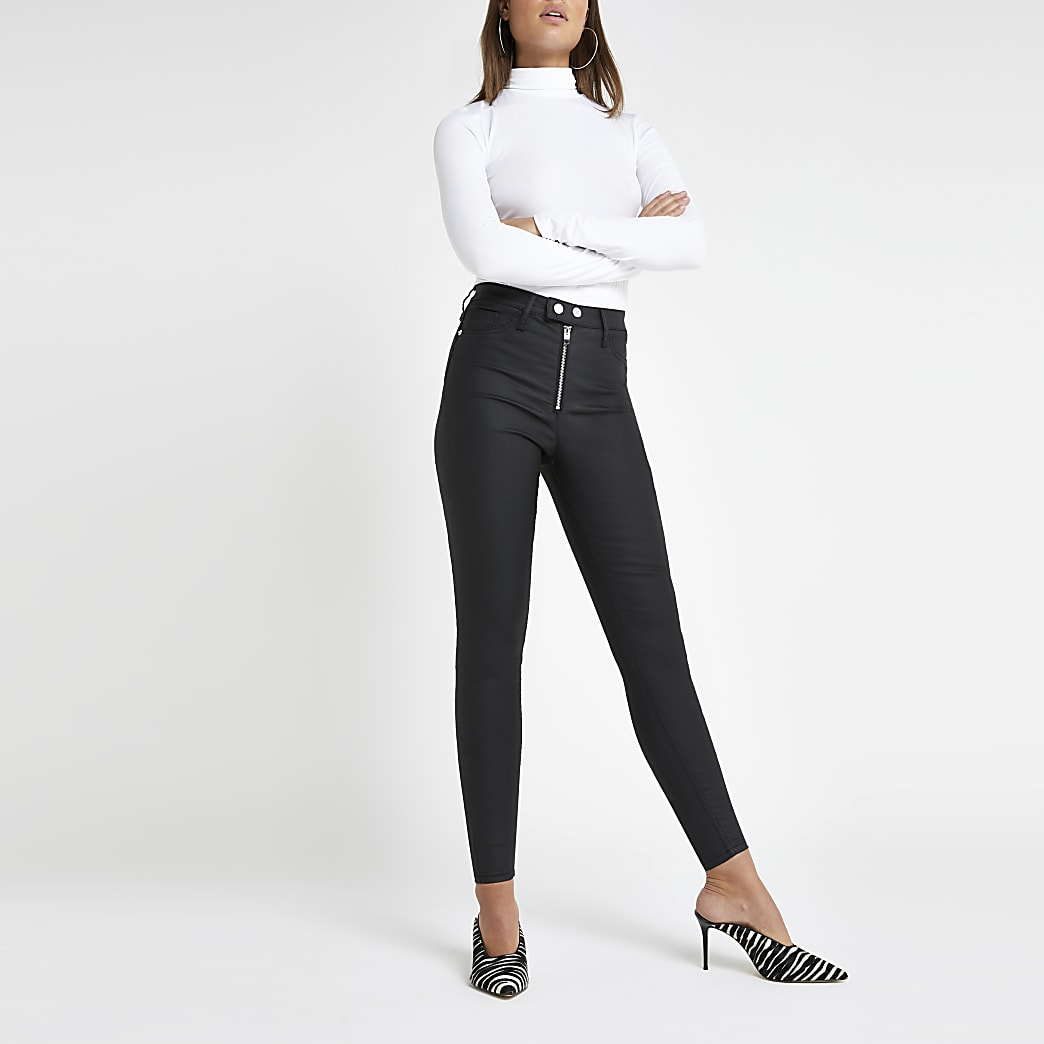 Hailey – Schwarze, beschichtete Skinny Jeans mit hohem Bund