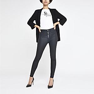 Hailey - Zwarte jeans met coating en hoge taille