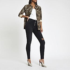 Hailey - Zwarte jeans met hoge taille