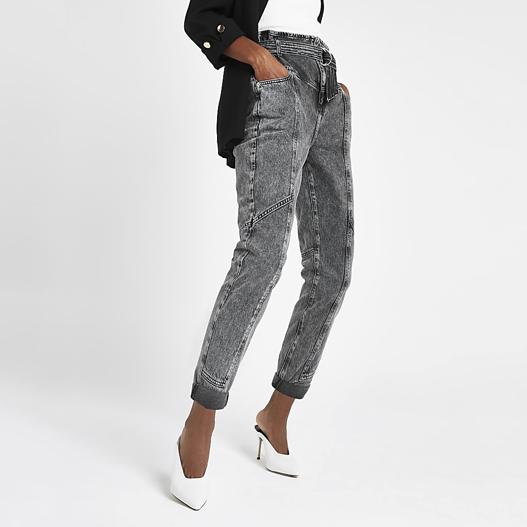 Grey denim paperbag waist utility jeans