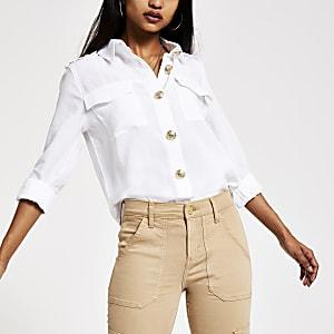 Petite white utility shirt