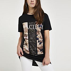 Petite – Schwarzes T-Shirt mit Camouflage-Muster