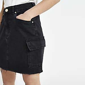Petite black utility denim skirt