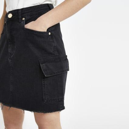 Petite black utility denim skirt