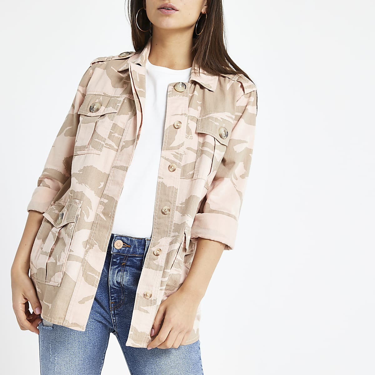 Petite pink camo army jacket