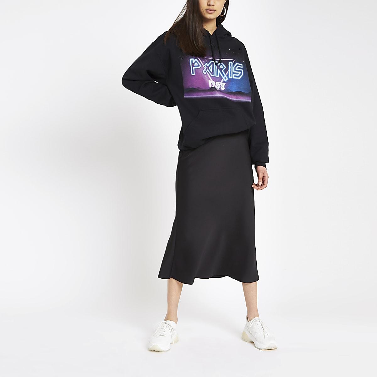 Zwarte hoodie met 'Paris'- en rockprint