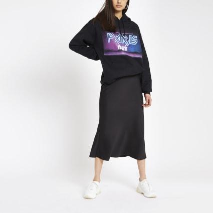 Black 'Paris' rock print hoodie