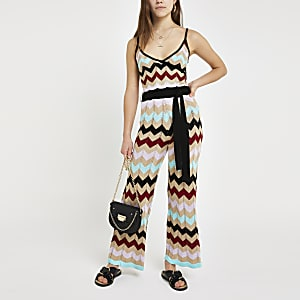 Petite multi gold chevron stripe jumpsuit