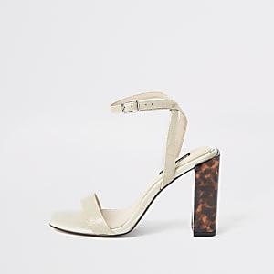 White croc strap block heel sandals