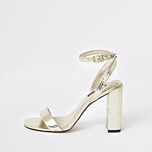 Gold metallic two part block heel sandals