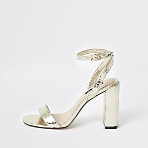 Sandales dorées métallisées en deux parties à talon carré