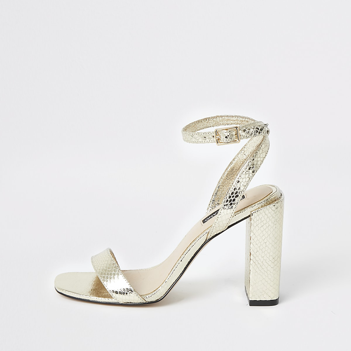 b624b59513b87 Gold metallic two part block heel sandals - Sandals - Shoes & Boots - women