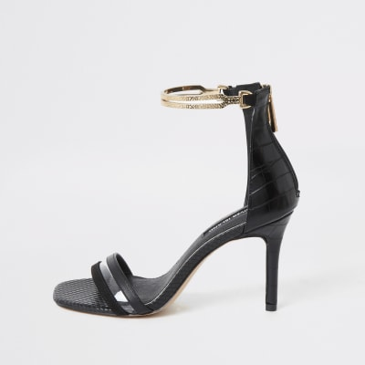 Black high heel gold ankle cuff sandal