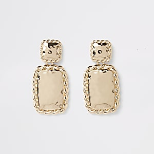 Gold colour twist rectangle drop earrings