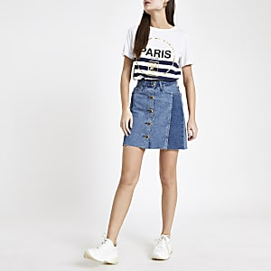 Mini-jupe en denim bleu moyen boutonnée devant