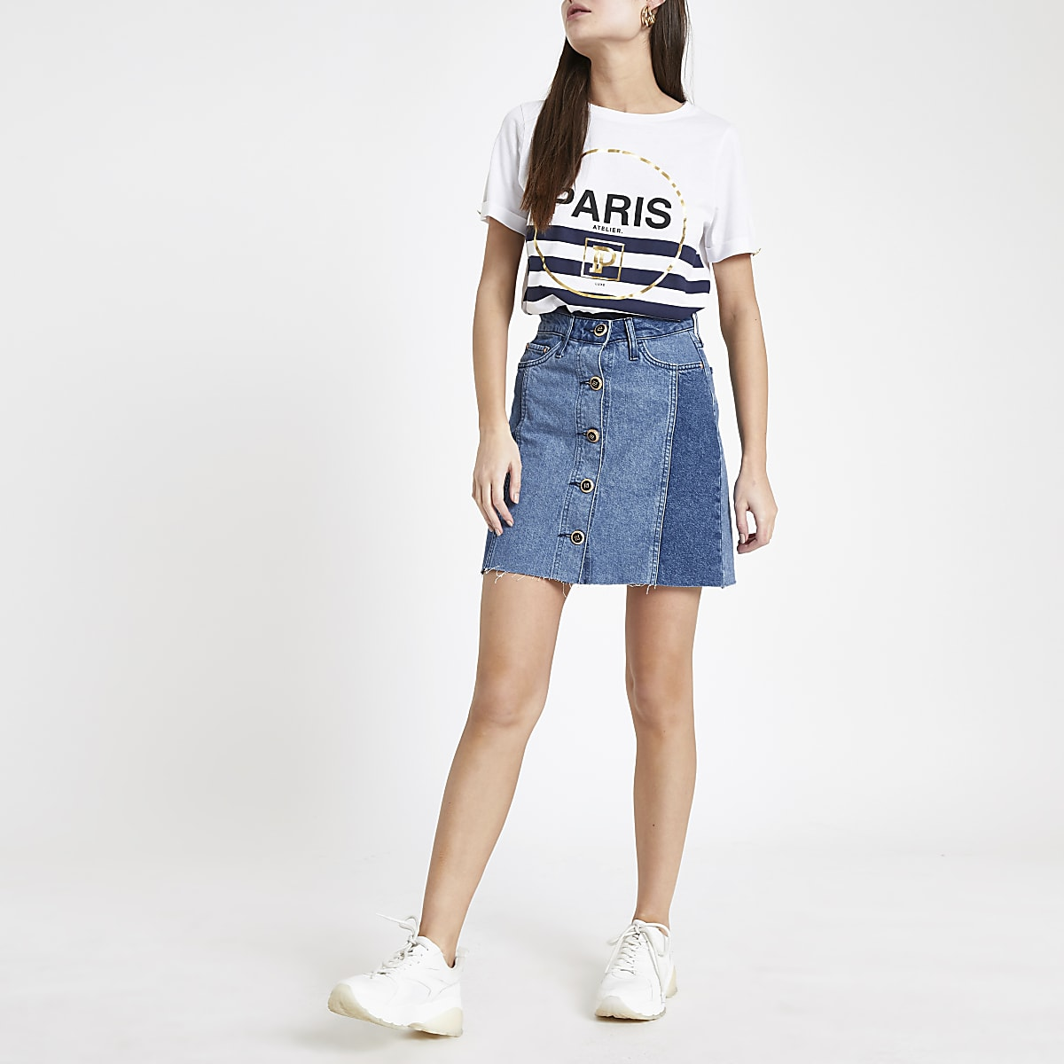Mid blue button front denim mini skirt
