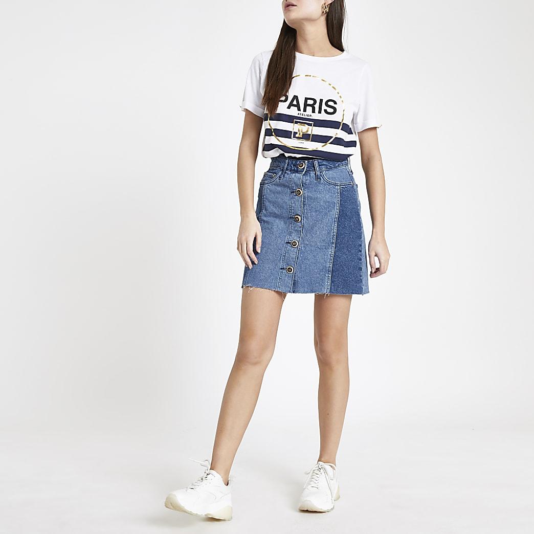 Mid blue button front denim mini skirt