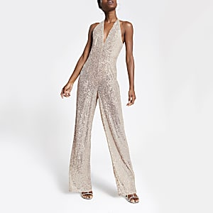 Silver sequin wide leg jumpsuit