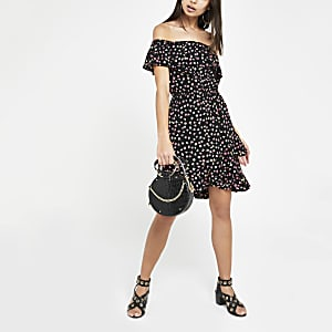 Black floral bardot dress