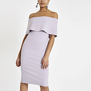 Lichtpaarse midi-jurk met cape