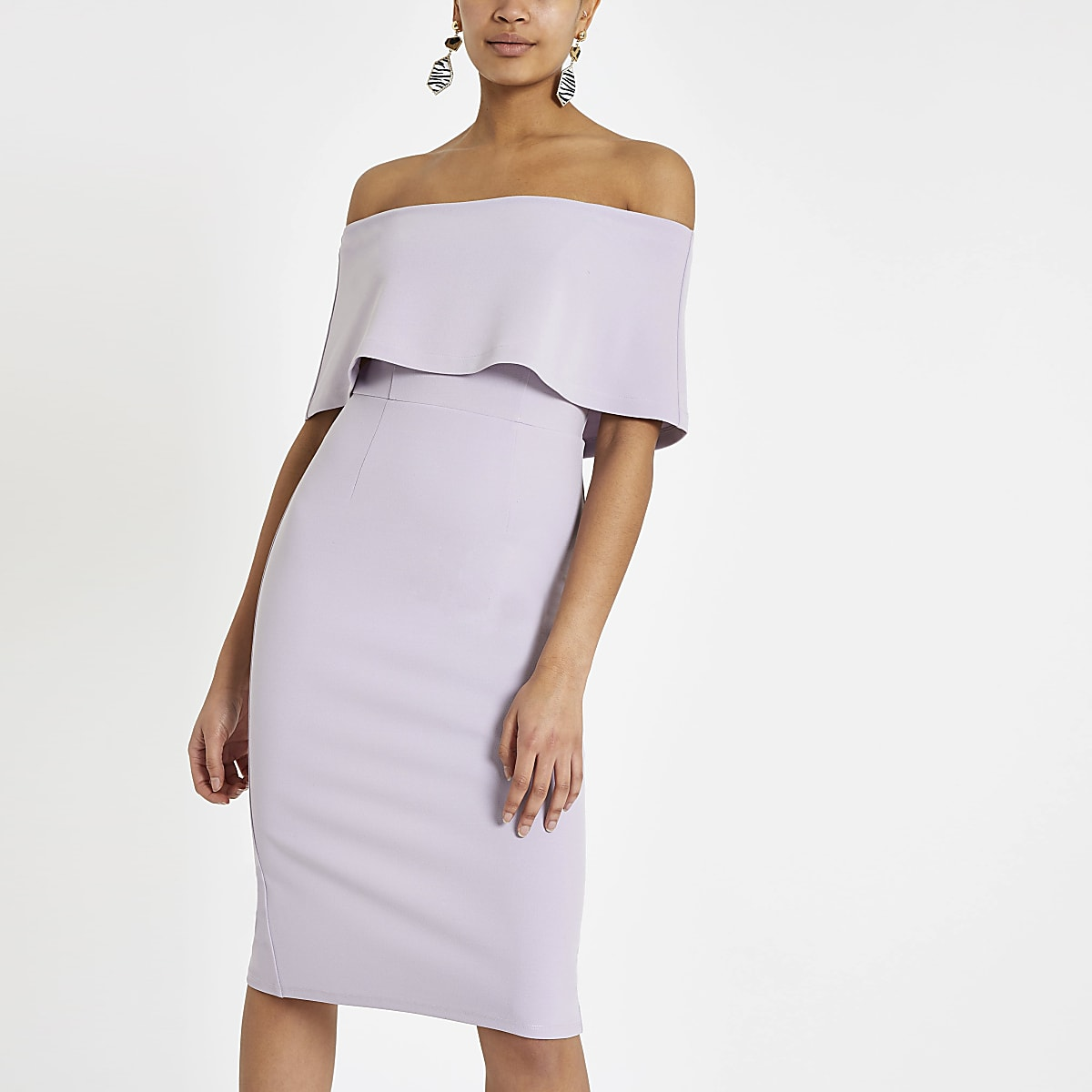 Light purple cape midi dress