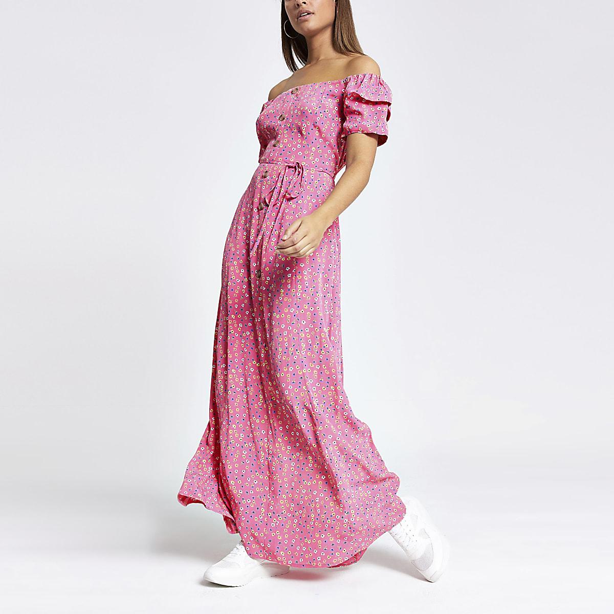Robe longue Bardot à petites fleurs rose