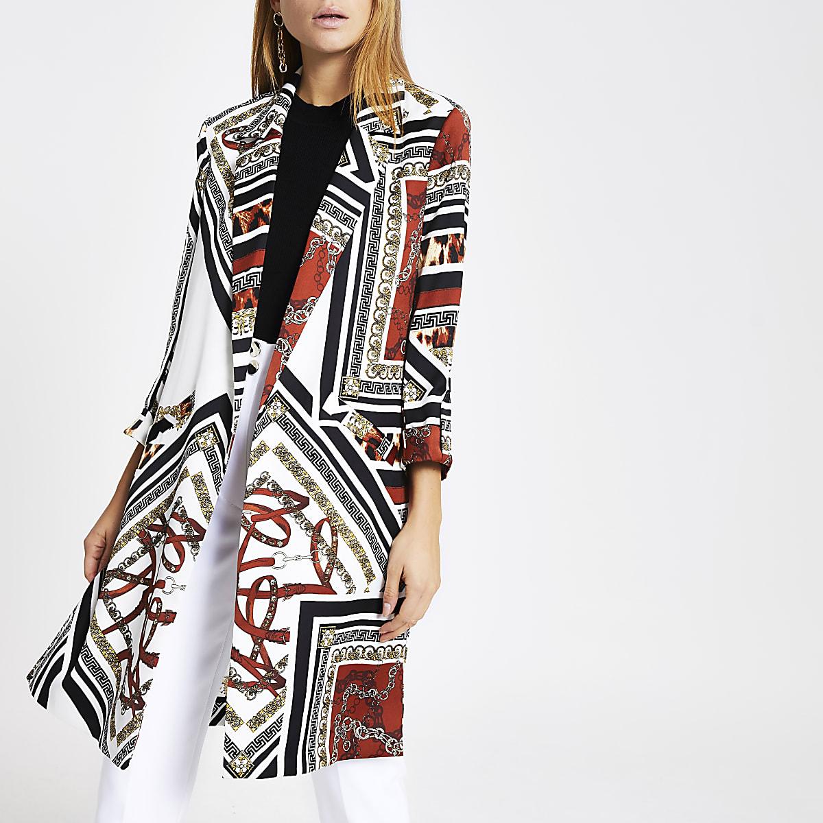 Brown print longline blazer