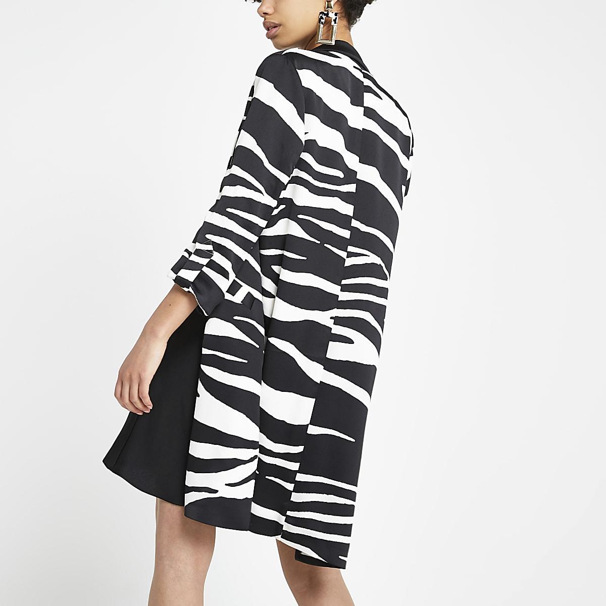 6db1772f6f9e3 Black zebra print longline blazer - Blazers - Coats & Jackets - women