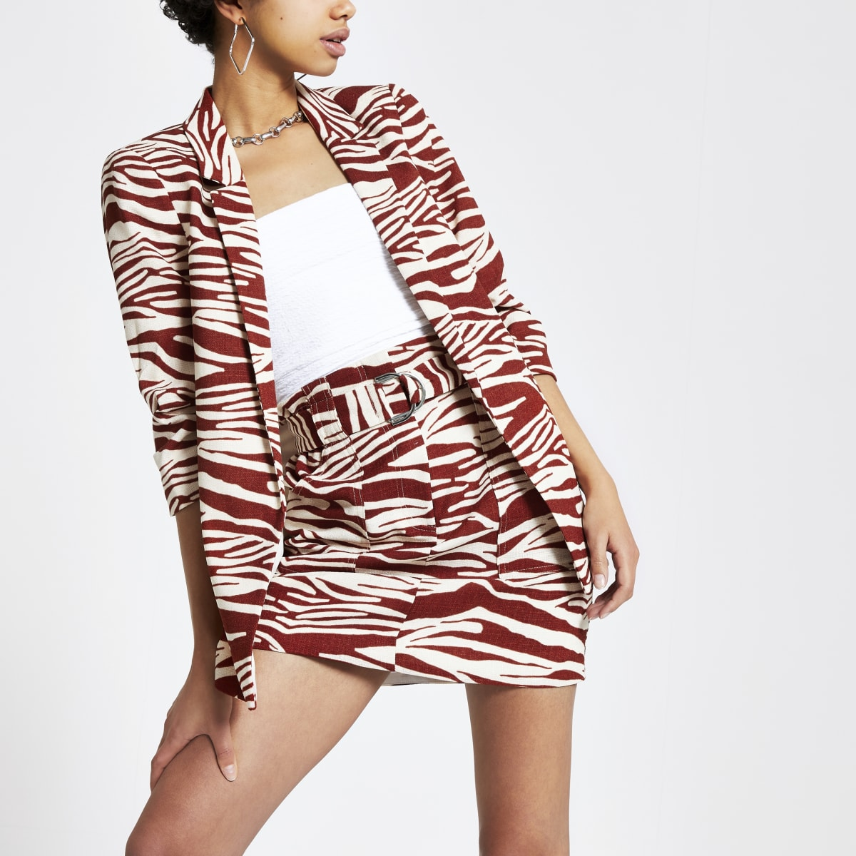Brown zebra print ruched sleeve blazer
