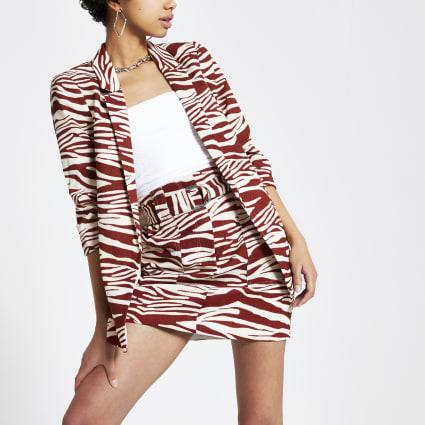 Brown zebra print ruched sleeve blazer