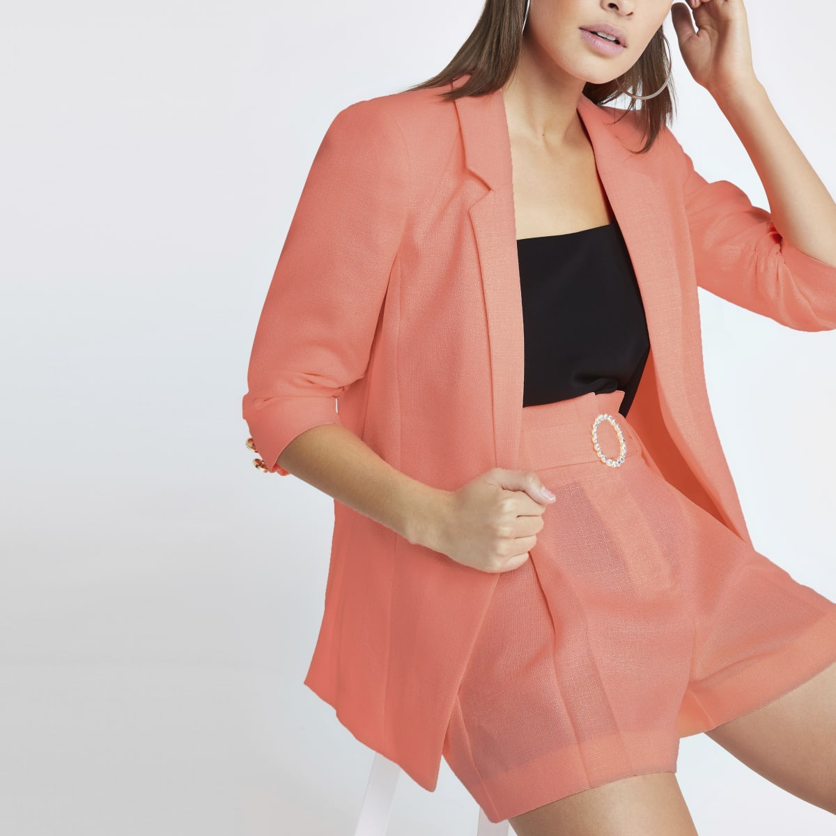 Coral ruched sleeve blazer