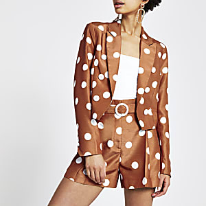 Brown spot cropped blazer