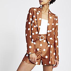 Bruine cropped blazer met stippen