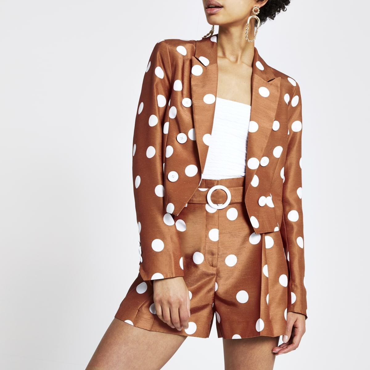 Brown spot cropped blazer
