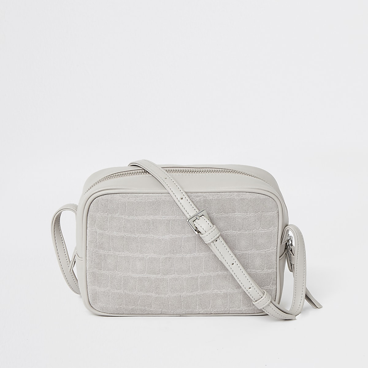 Grey leather croc embossed cross body bag