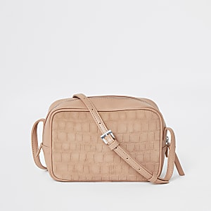 Pink leather croc mini boxy cross body bag