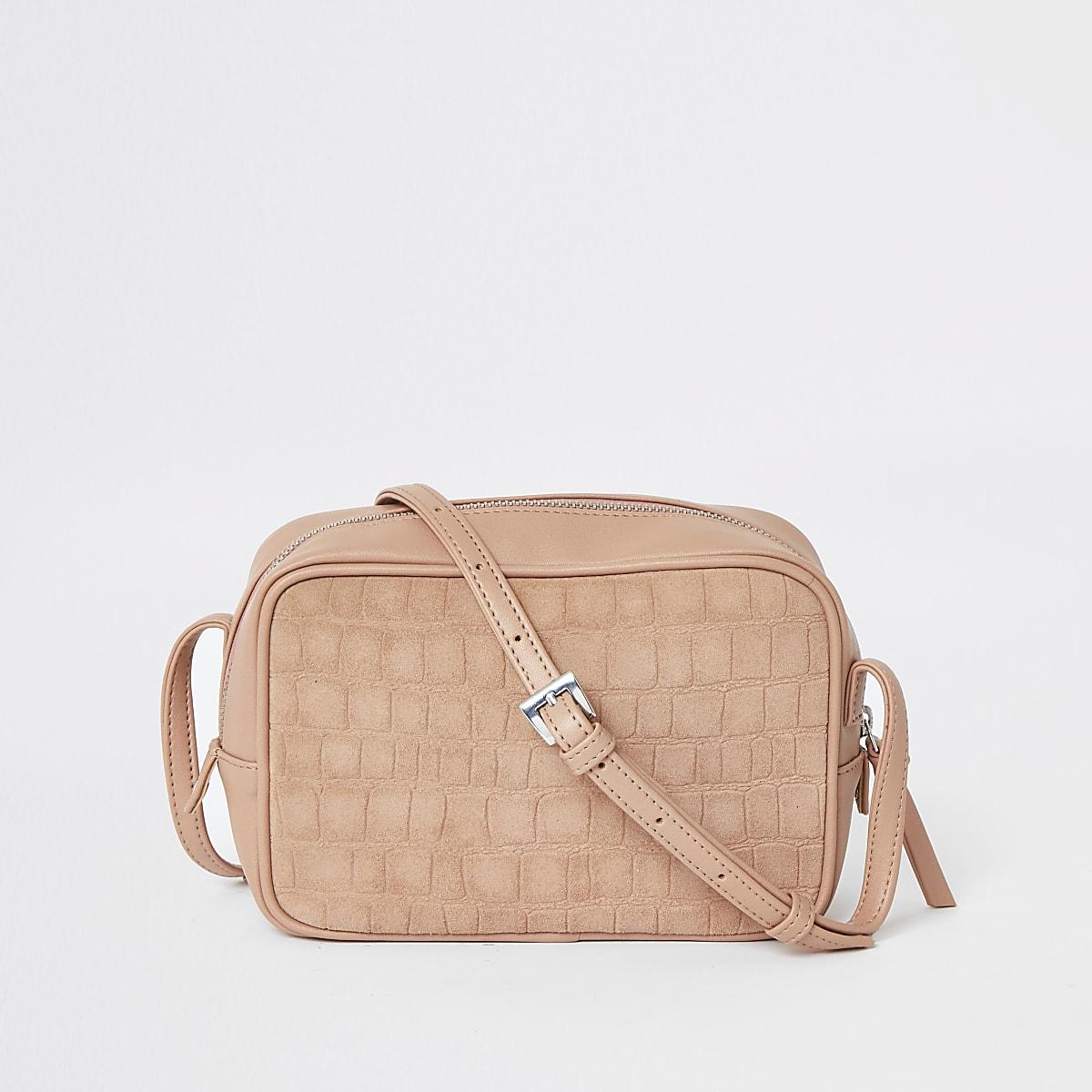 Pink leather croc mini boxy cross body bag