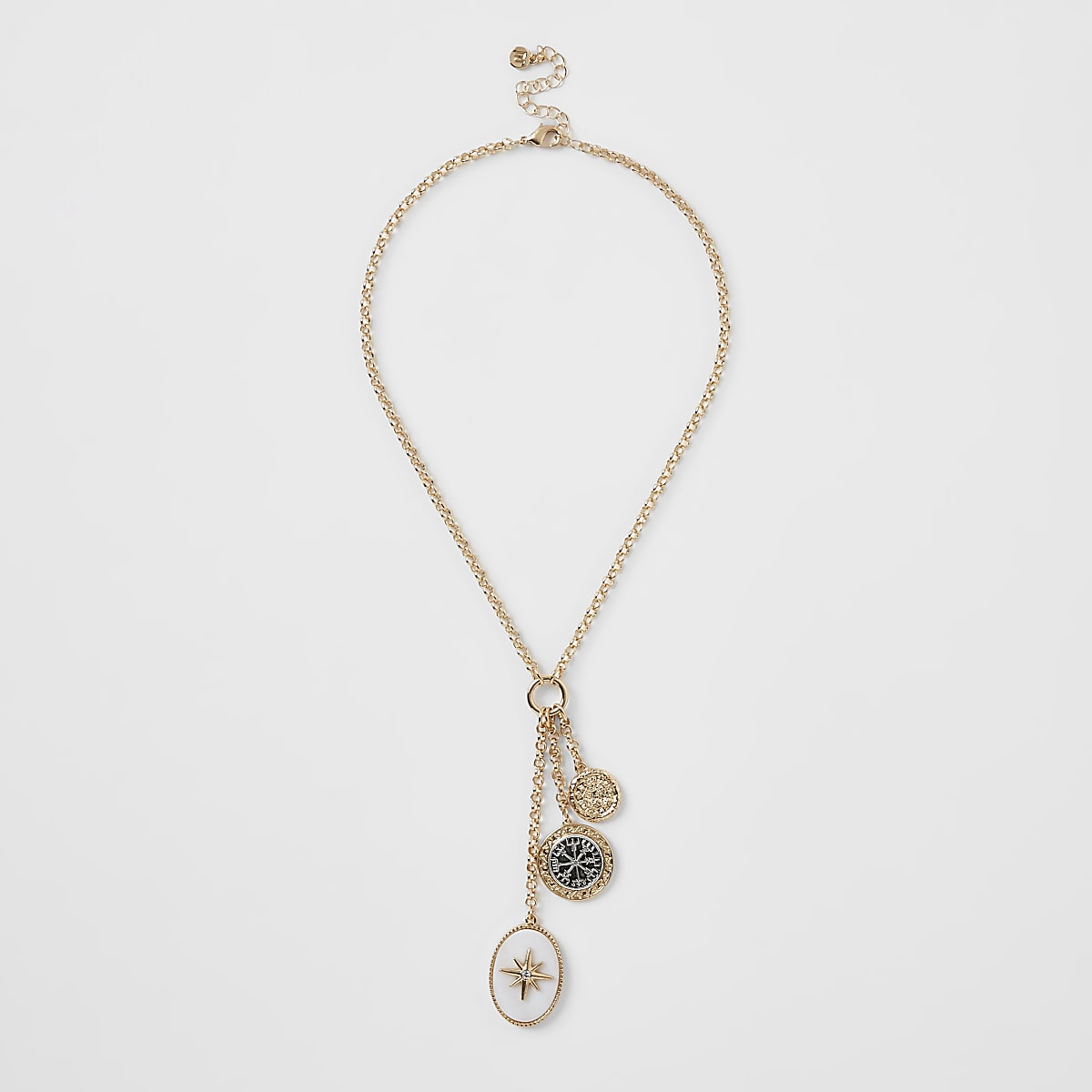 Gold colour oval pendant necklace