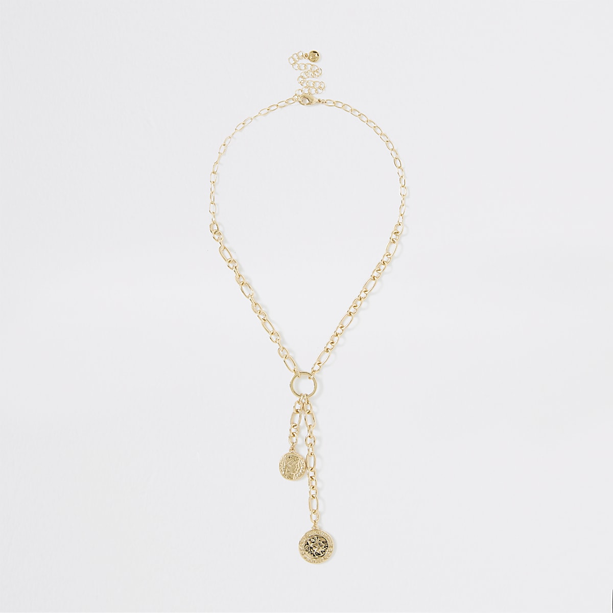 Gold colour chain coin necklace