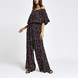 ad817eed4f9 Black ditsy floral bardot jumpsuit