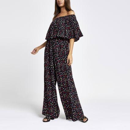Black ditsy floral bardot jumpsuit
