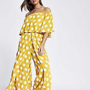 Gelber, gepunkteter Bardot-Jumpsuit mit weitem Bein
